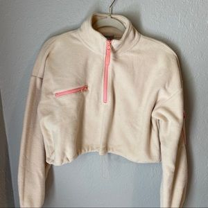 cropped fleece quarter zip